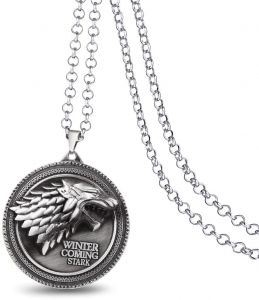 """Game Of Thrones House Of Stark Sigil Direwolf """"WINTER IS COMING"""" Necklace. Silver"""