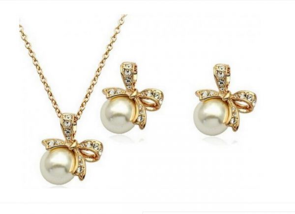 from necklace diamond wedding elegant sets earring bridal earrings jewelry product pearl plated set new gold