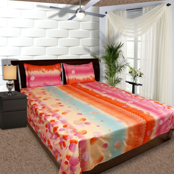 Souq | 3 Pc Bed Sheet Set, King Size, Polyster 200 Tc Twill Abstract,  Multicolor High Quality Bedsheet With 2 Pillow Covers By Just Linen | Kuwait