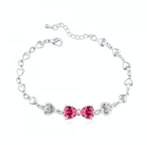 Swarovski Elements 18k White Gold Plated Bracelet Encrusted With Fuchsia Crystals Swr 411