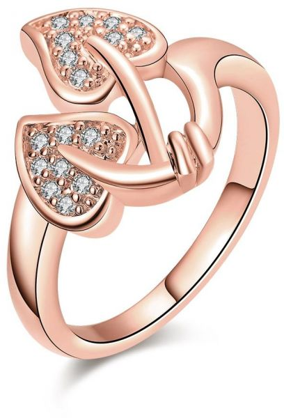 Fashion simple Beautiful flowers Zircon Rose Gold plated Women Ring Size 8