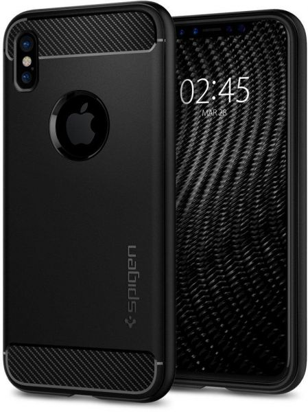 buy online d10a3 f6fe8 iPhone X Case , Spigen Rugged Armor with Resilient Shock Absorption Matte  Black