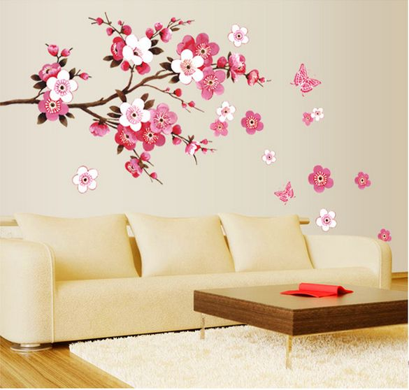cherry blossom flower wall stickers waterproof living room bedroom