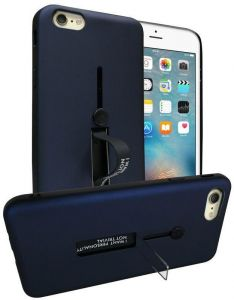Apple iPhone 8 Plus (5.5 Inch) Matte Shockproof Ring Button Metal Stand Back Case Cover - Navy