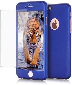 Iphone 6 / 6s Case 360 Full Body Coverage Protection Hard Slim cover with Tempered Glass Screen Protector - Blue