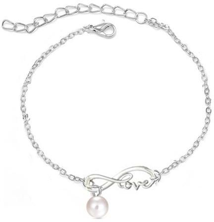 a7d5e24fd4c White Gold Plated Chain Infinity Love With Pearl Beads Anklets for ...