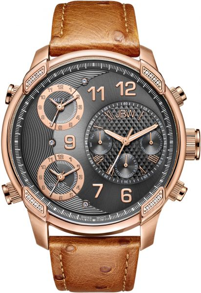 JBW Men's Limited Edition G4 Leather 0.19 ctw Diamond 18K Rose Gold-Plated Stainless Steel Watch - J6353B
