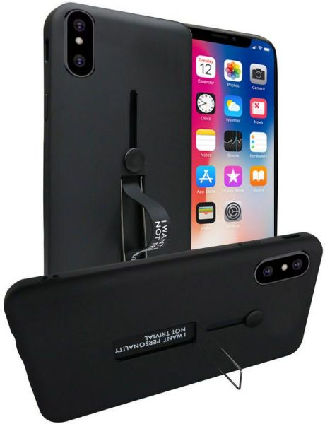 factory authentic b1ccb 17be5 Apple Iphone X Matte Shockproof Ring Stand Pc+Tpu Back Case Cover- Black