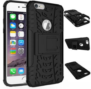 For Apple iPhone 6 6S Hybrid TPU Armor Silicone Rubber Hard Back Impact Stand Case Cover Black