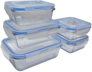 FEELINGS 5pcs GLASS STORAGE FOOD CONTAINER (rectangular   380+620ml+980ml)  + (square 380mlX2pcs Set)