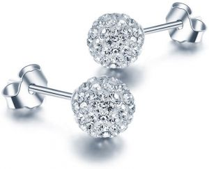 8mm Unisex Women Shamballa Premium Crystal 925 Sterling Silver Ear Stud Earring Disco Ball,WISH028