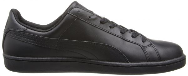 PUMA Men's Smash Leather Classic Sneaker,Black/Dark Shadow,5 M US