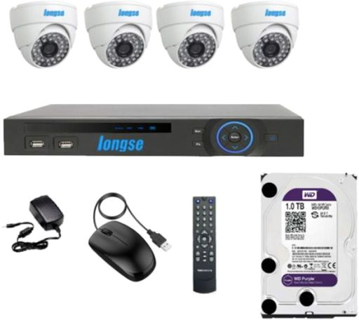 Longse AHD 4 Channels DVR with 4 Indoor Security Camera and WD Purple 1TB Hard Drive