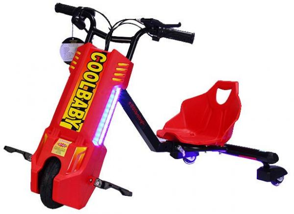 Cool Baby 360 Drifting Electric Power Scooter 3 Wheel Kids Bicycle  Bluetooth Red