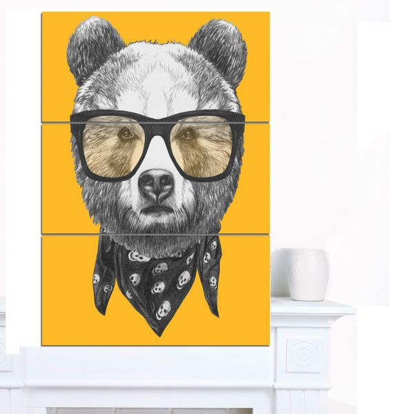 Souq | Designart MT13206-3PV Funny Bear with Formal Glasses ...
