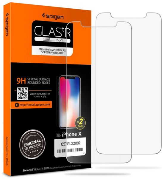 best service e4b84 6bd86 Spigen iPhone X Glas.tR Slim 2 Pack 3D Touch Tempered Glass Screen  Protector - World Strongest