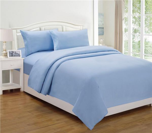 Double/Full Size, Cotton,Solid Pattern, Blue   Bed Sheets