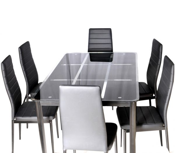 Zena Metal And Glass Dining Table Set With 6 Chairs