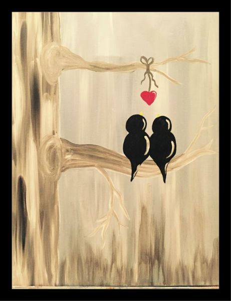 Art Wall Painting With Frame 22cm 33cm Love Birds Souq Egypt