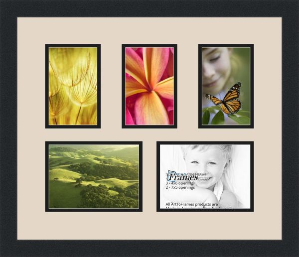 Arttoframes Collage Photo Frame Double Mat With 5 Openings And Satin