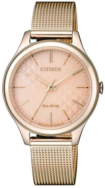 Citizen Eco Drive Women S Rose Gold Dial Stainless Steel Band Watch Em0503 83x