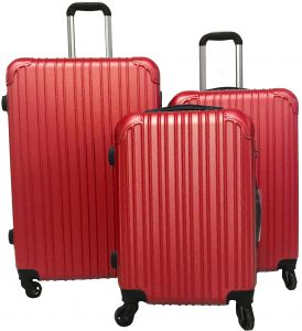 82f4708aa Le Voyageur 4 Spinner Wheel 3 Piece Luggage Trolley Bag Set - Red