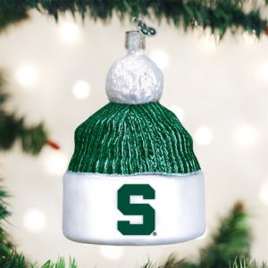 Old World Christmas Michigan State University Beanie Glass Blown Ornament 8d5b50d6a