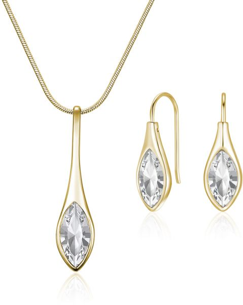 Mestige MSSE3237 Women's Gold Plated Crystals Necklace and Earring Set