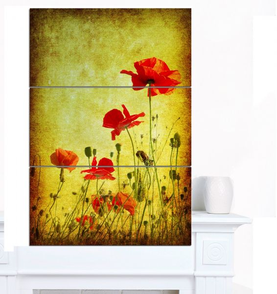 Designart MT12991-3PV Poppy Flowers on Grunge Background - Modern ...