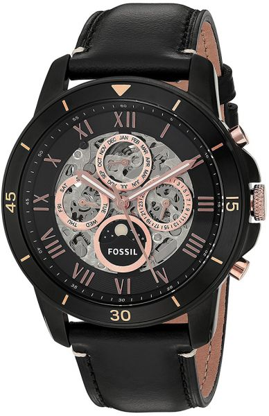 a512b89469a6 Fossil Grant Automatic Men s Black Dial Leather Band Watch - ME3138 ...