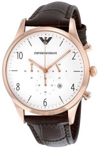 11a926714d28bf Emporio Armani Classic Men s White Dial Leather Band Watch - AR1916