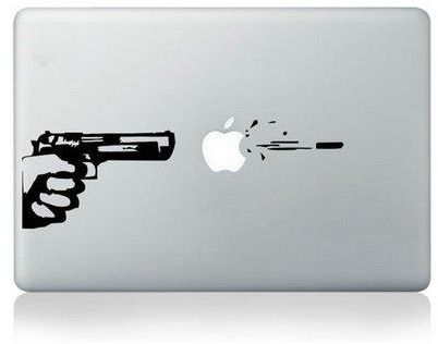 Gun and bullet vinyl decal sticker laptop cover skin for apple macbook air pro retina 11 13 15 inch