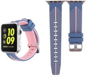 Replacement Silicone Apple Watch 38mm Strap For iWatch Series 3, Series 2, Series 1 - Blue / Pink