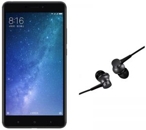 Combo Offer - Mi Max 2 - 64GB, 4GB RAM, Matte Black with FREE Xiaomi Mi Piston In-Ear Headphones Basic Edition - Matte Black