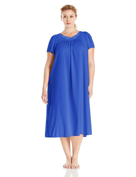 Buy Miss Elaine Women s Plus-size Tricot Long Nightgown 0cf0bf48f