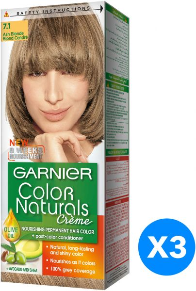 Garnier Color Naturals Creme Hair Dye 71 Ash Blonde Pack Of 3