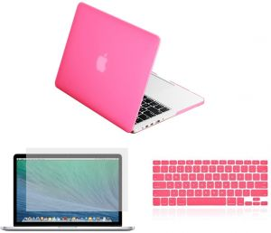 3 in 1 One Ultra Slim Light Weight Rubberized Hard Case Cover with Keyboard Cover And Screen Protector For Apple Macbook Air 13 13.3 inch (Pink)