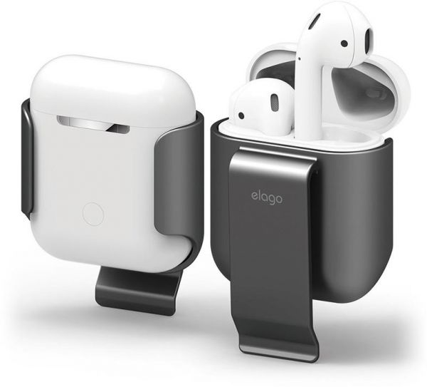 Elago Belt Clip Holster Detachable Shockproof Protective Shell Cover for Apple Airpods - Grey