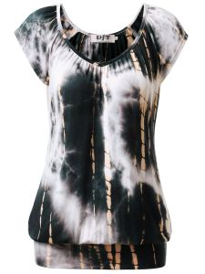 e013ad8917306f DJT Women's Tie Dye V Neck Short Sleeve T Shirt Tunic Top X-Large Tie Dye  Black White