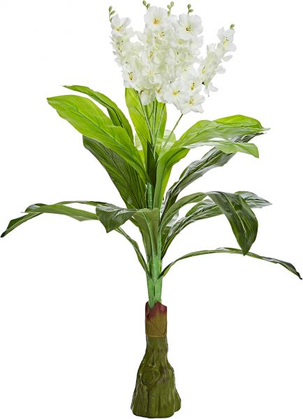 Decorative Green Artificial Plant With Off White Flower