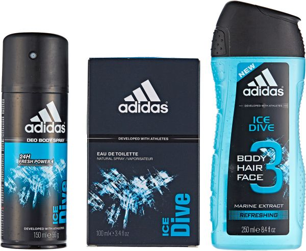 ba56eb39de0d Adidas Male Gift Pack Ice Dive EDT 100ml Body Spray 150 ml Shower Gel 250ml  Pouch