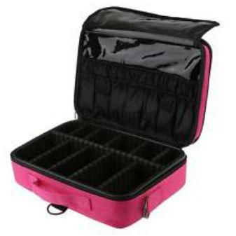 Makeup Train Case Portable Travel Makeup Cosmetic Bag With Adjustable  Dividers