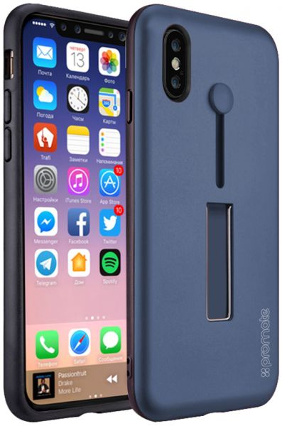 wholesale dealer ca8a6 f465a Promate iPhone X Case Cover, Ultra-Slim Heavy-Duty Hard Protective Case  with Finger Grip Strap, Scratch Resistance and Kickstand Shock-Absorption  for ...
