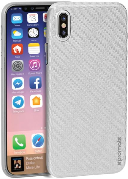 uk availability 3e0ff fa642 Promate iPhone X Case, Ultra-Thin Flexible Carbon Fiber Anti-Slip Case with  Scratch Resistance and Shockproof Non-Bulky Protective Case Cover for ...