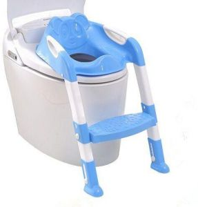 Baby Toddler Kids Potty Toilet Training Safety Adjustable Ladder Seat Chair Step (Blue)