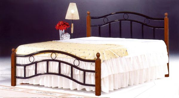 Galaxy Wooden Steel King Size Bed Natural Brown Legs 180 X 190 Cm