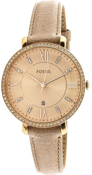 0767203a3 Fossil Jacqueline Women's Rose Gold Dial Leather Band Watch - ES4292 ...