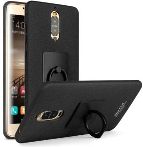Imak Huawei Mate 9 Pro Cowboy Matte Frosted Hard Phone Case Cover With Ring Stand Holder,Vehicle Hook Black