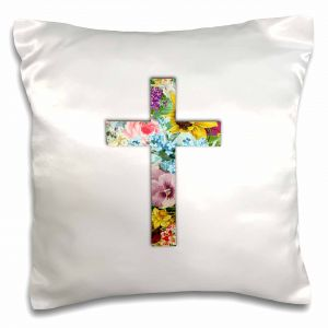 7997374248 3D Rose Floral Christian Cross Colorful Girly Flower Pattern Religious  Symbol Pillow Case