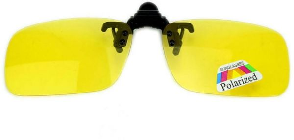 d592999391 Polarized Day Night Vision Flip up Clip on Lens Driving Sunglasses Yellow